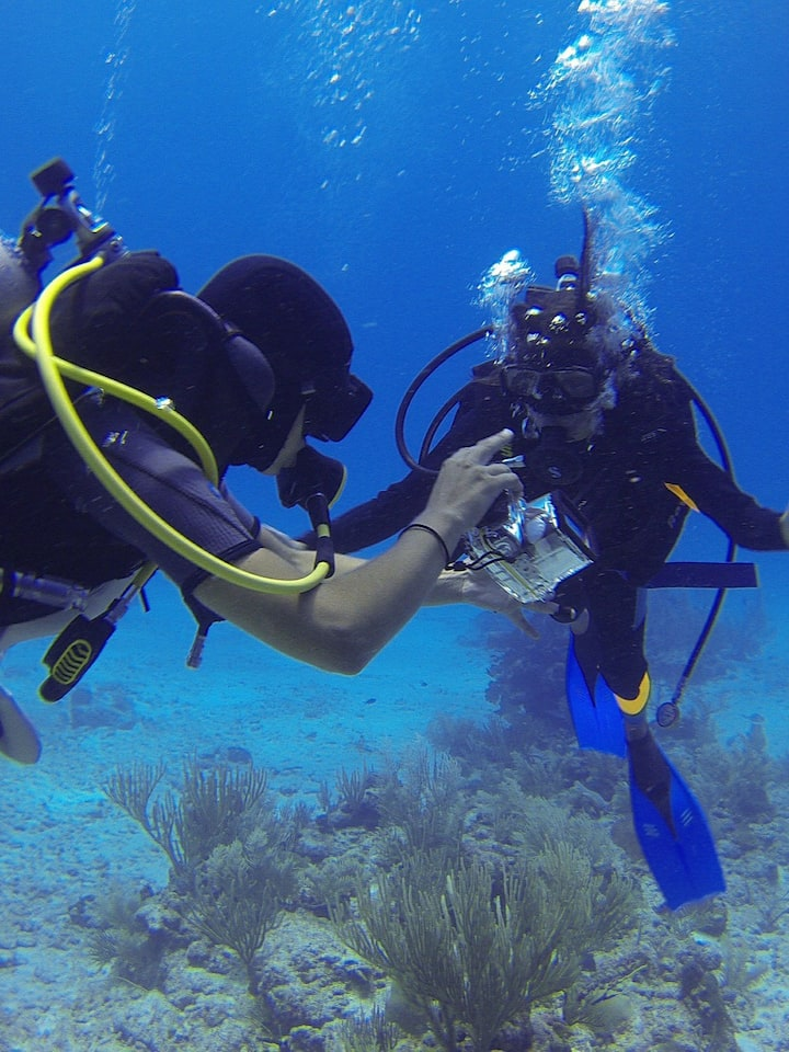 instructing a customer under water