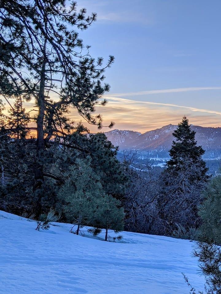 February sunset snowy hike
