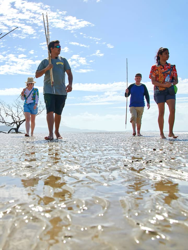 Coastal walk learning spearing technique