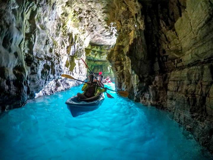 sea cave exploring