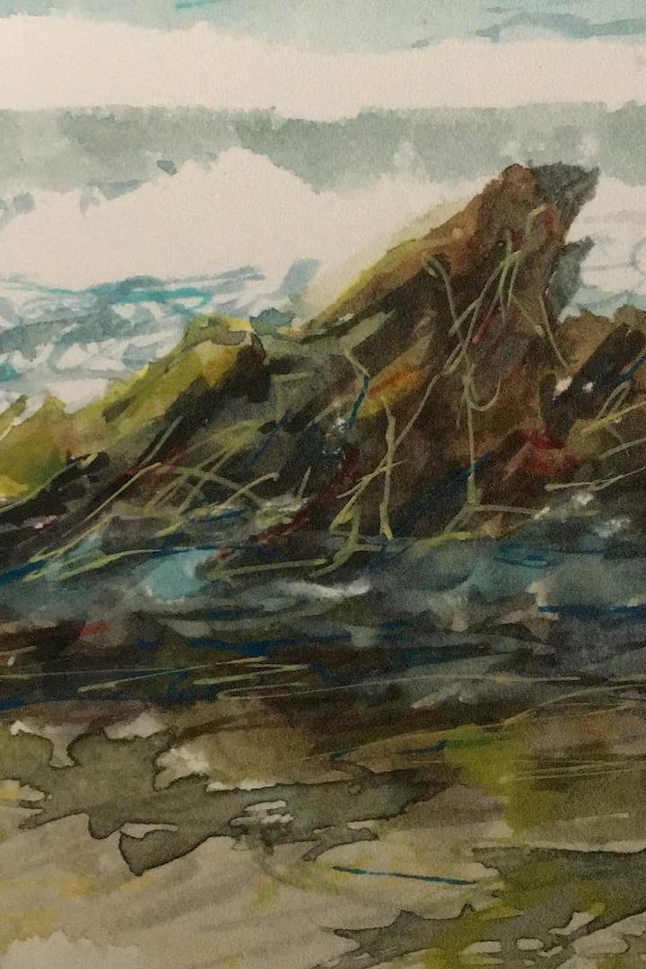 Rocky shore colour sketch