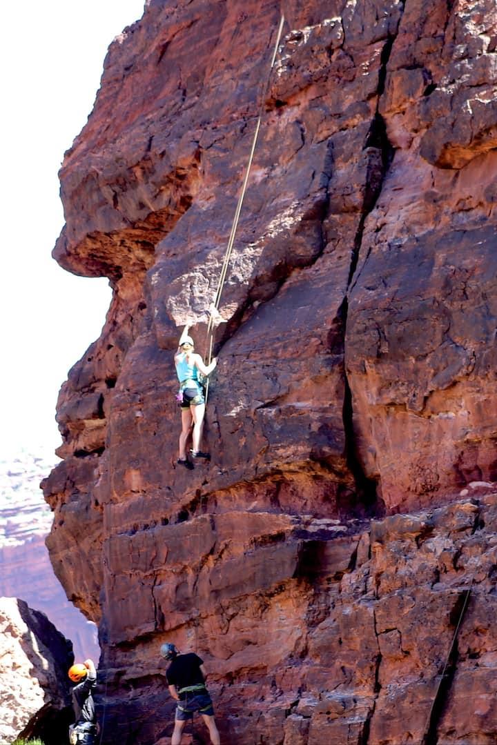 A guest on their first rock climb!
