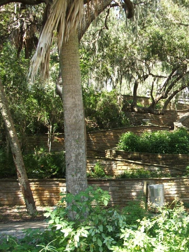 Steps up the sacred Native mound