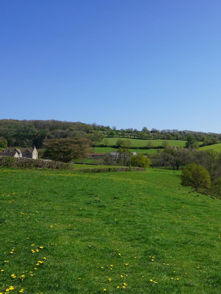 Walking across rolling fields