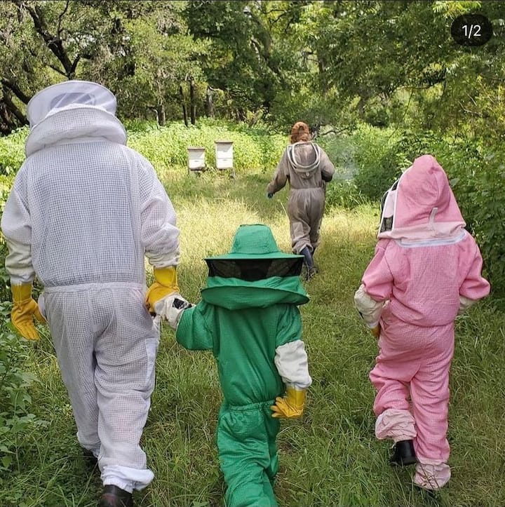 Walking to the hives!