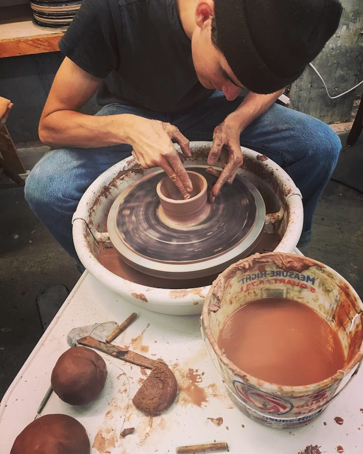 Beginner at the potter's wheel!