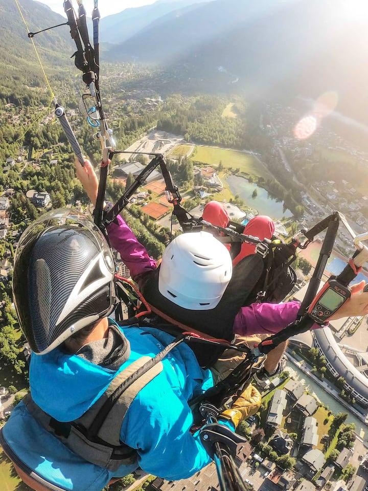 Coline is piloting over Chamonix