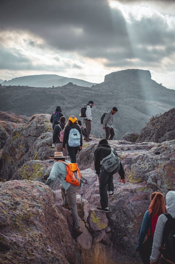 Group hikes on the mountain