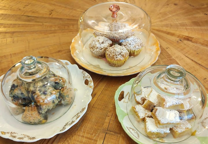 Variety of tea biscuits and pastries