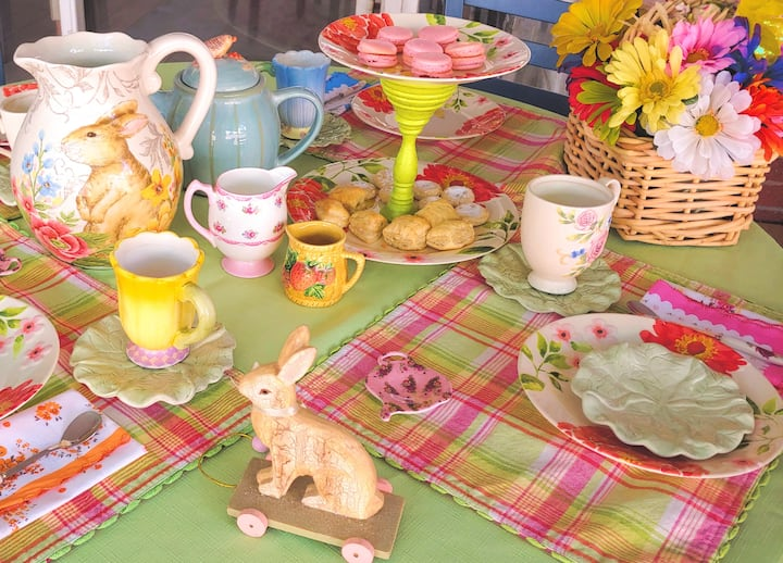 Pretty table set for tea with friends