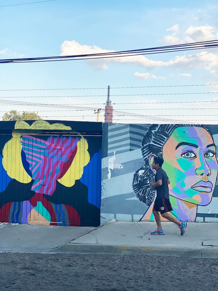 running past one of many murals in Oax