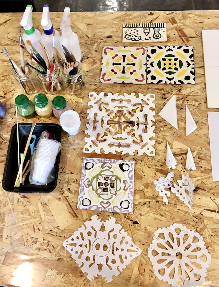 Stencils and other materials we'll need.