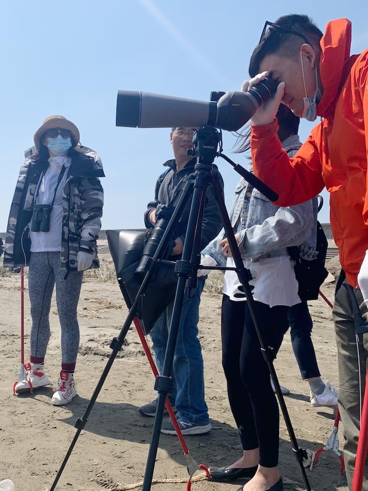 沙滩漫步(清理垃圾)观鸟