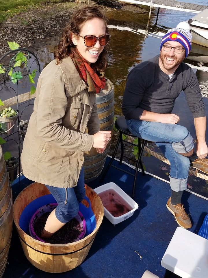 Stomping grapes on FLX Wine Barge