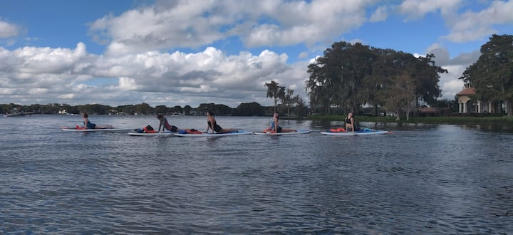 Enjoy a feel good Stretch and Flow SUP Yoga class designed specifically for your group.
