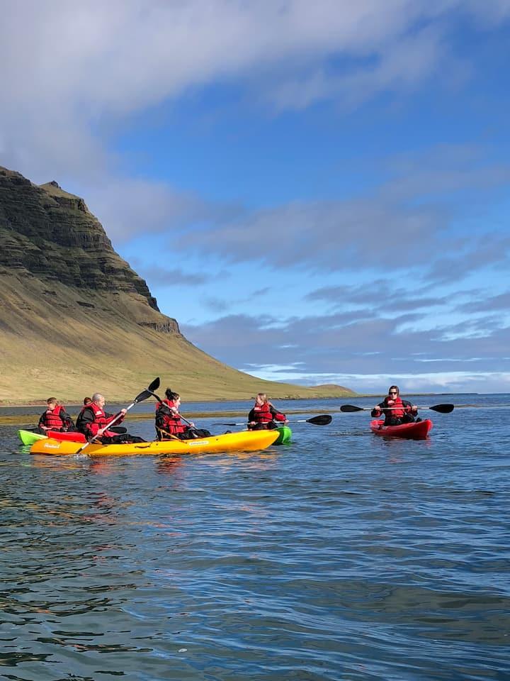 Kayaking by mt. Kirkjufell