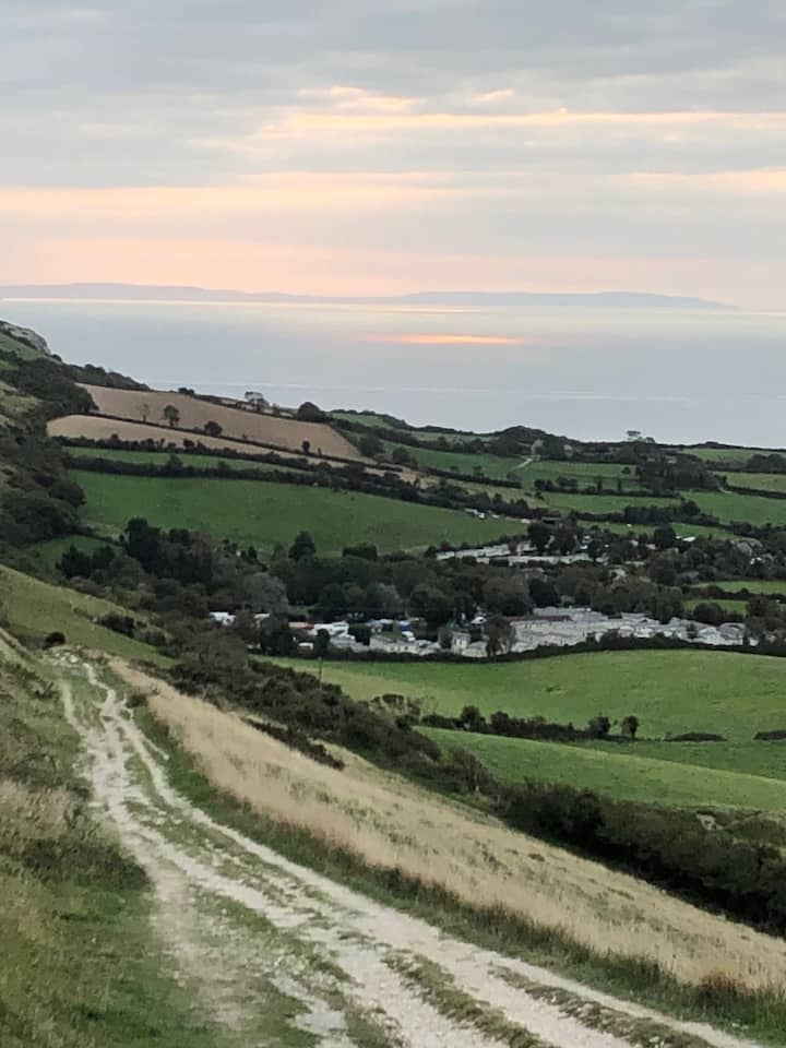 Views to Swanage Bay and Isle of Wight
