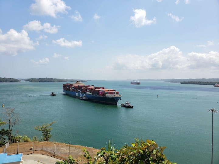 New Panamax Ship on the way to the locks