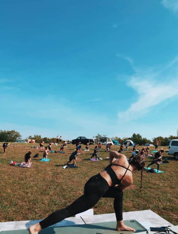 Teaching at a yoga festival in 2020.