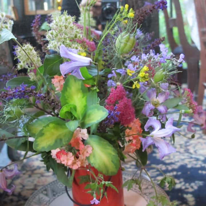 A posy with this weeks bounty of flowers