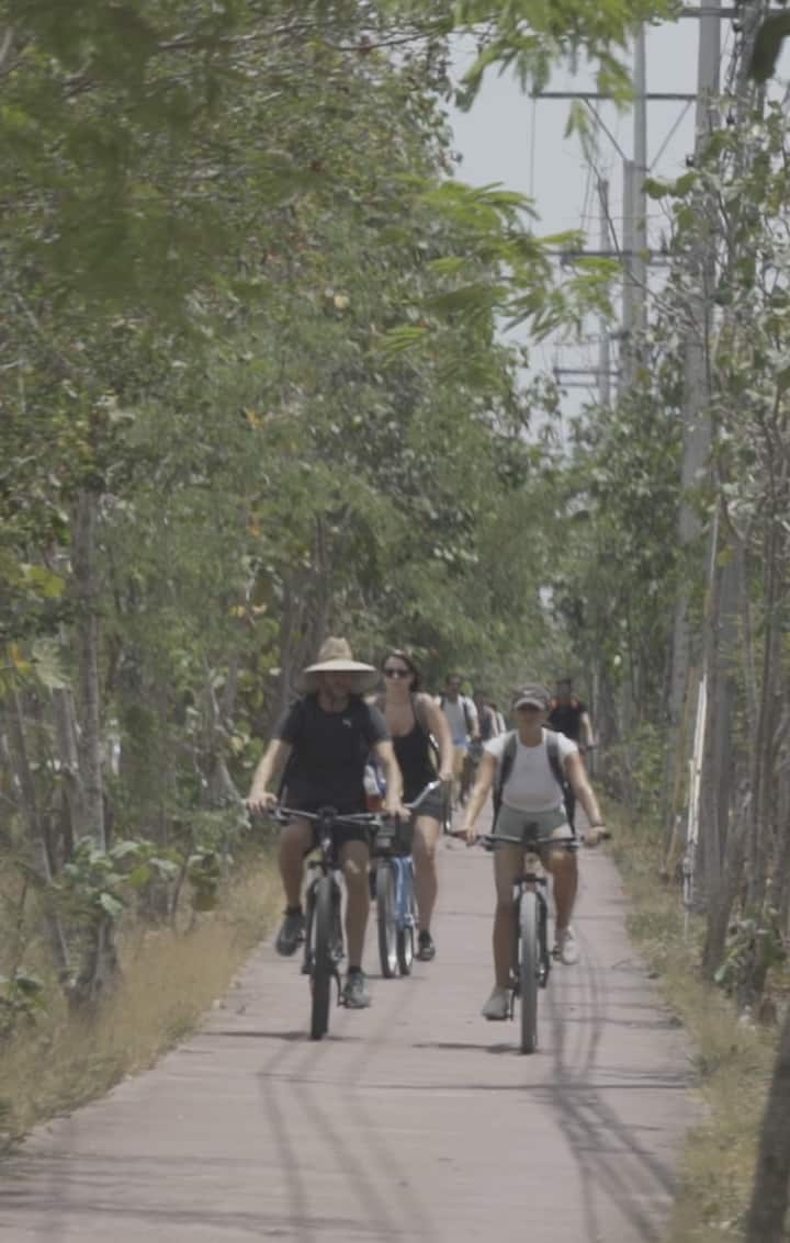 The group riding towards the jungle.