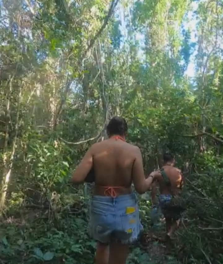 Hiking through the thick jungle