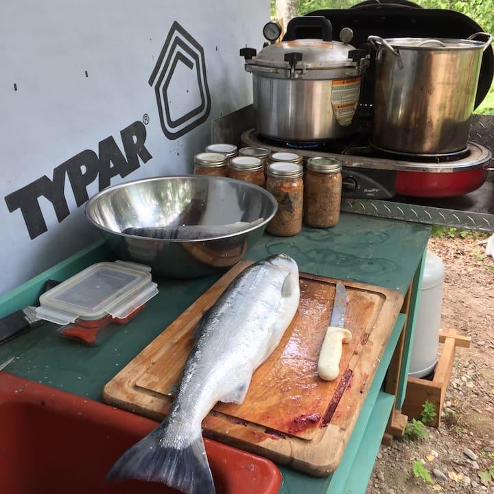 Cleaning wild Alaska Salmon