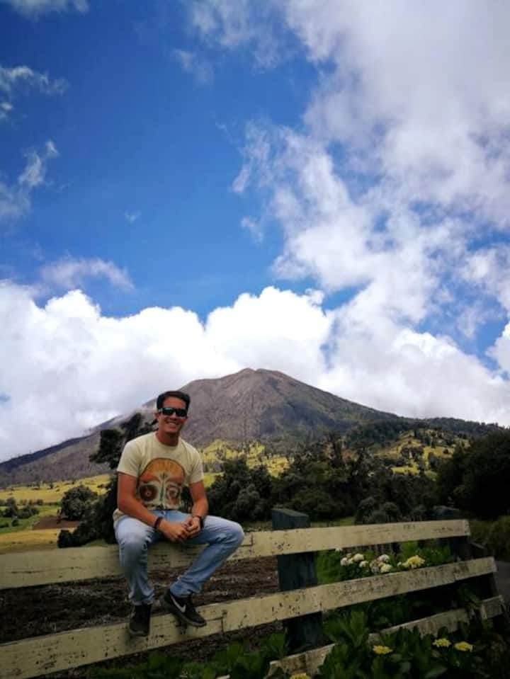 Turrialba Volcano in the background with its burnt landscape