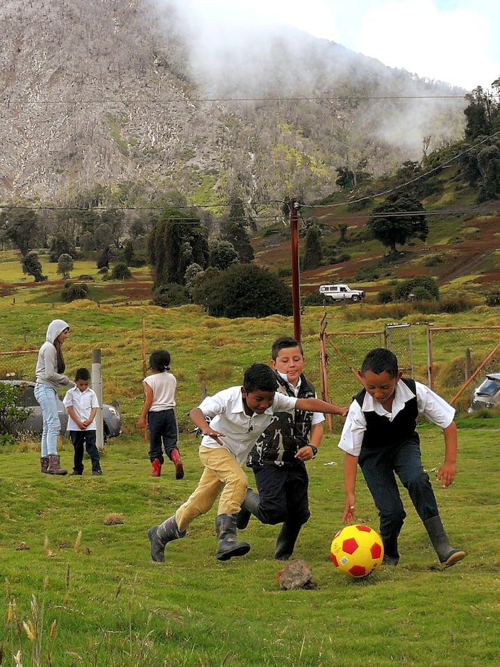 School kids enjoying soccer at lunch