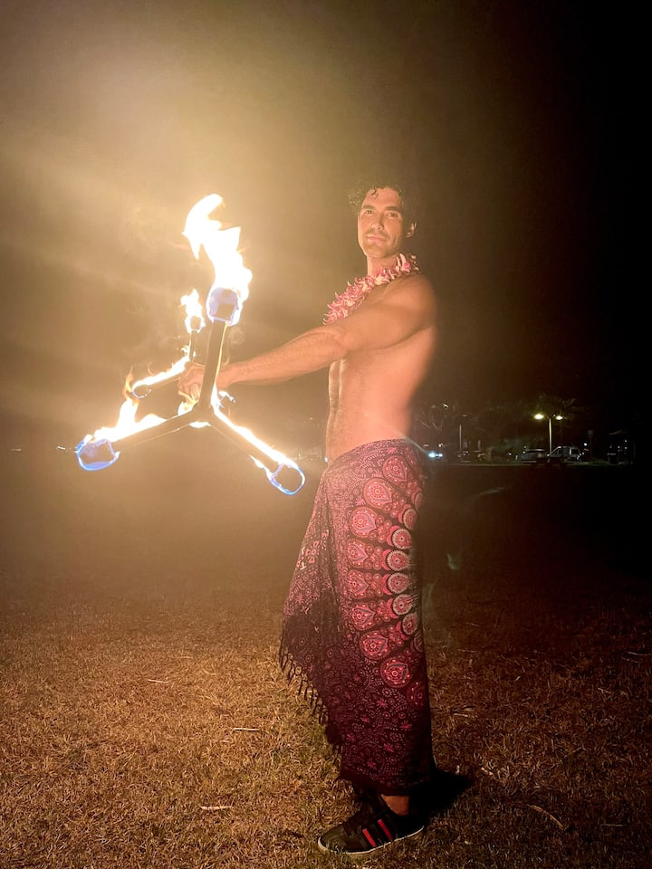 experience guest posing w Dragon Staff