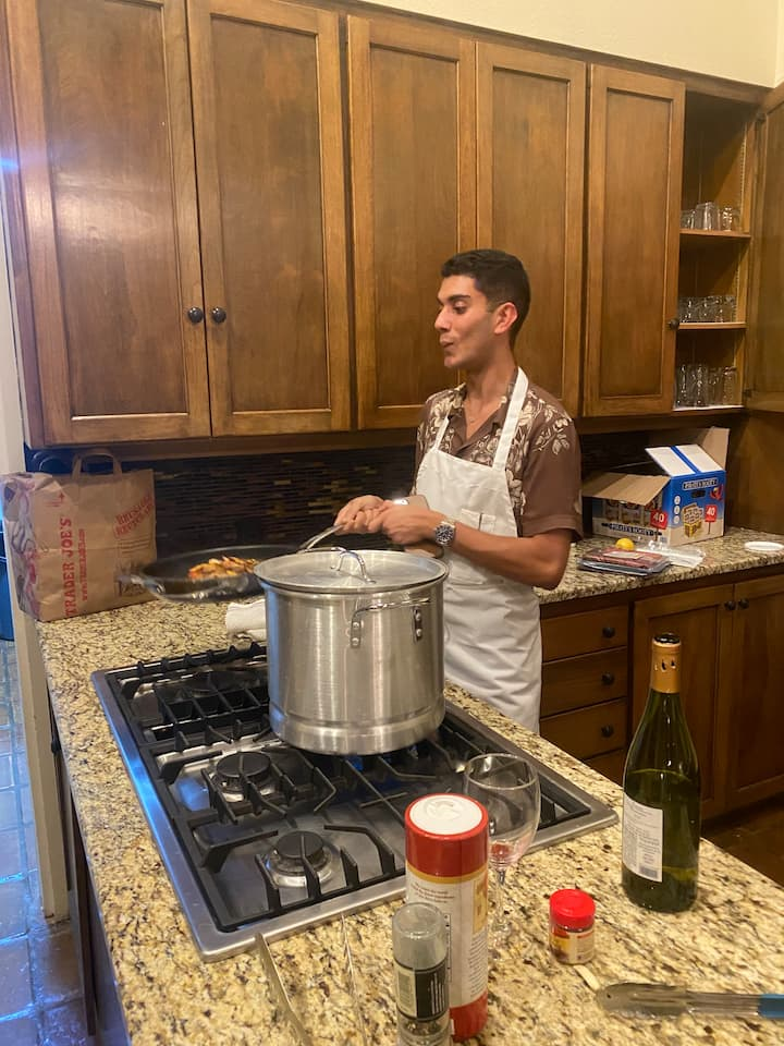 student proud make sauce for the pasta