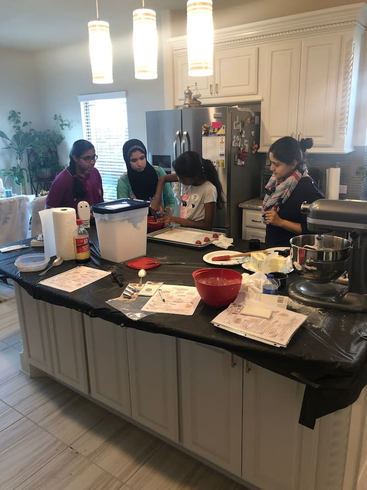 A kids class in motion! Baking and teaching are the 2 things I love to do.