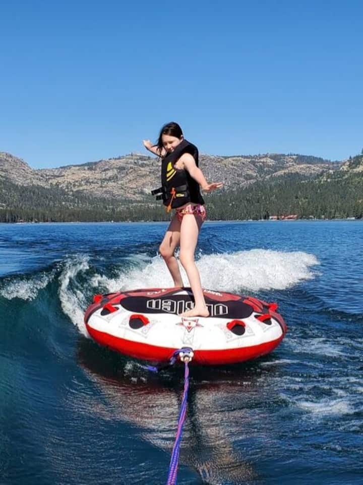 If conditions permit; take turns riding on a water toy such as an inflatable tube. Only 1 person allowed on a tube at a time. Tube rides require 2 guests from same group with one being an observer over the age of 12 while other is tubing.