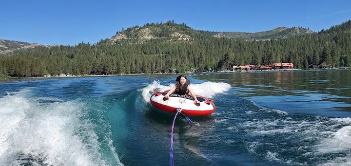 If conditions permit; take turns riding on a water toy such as an inflatable tube. Only 1 person allowed on a tube at a time.