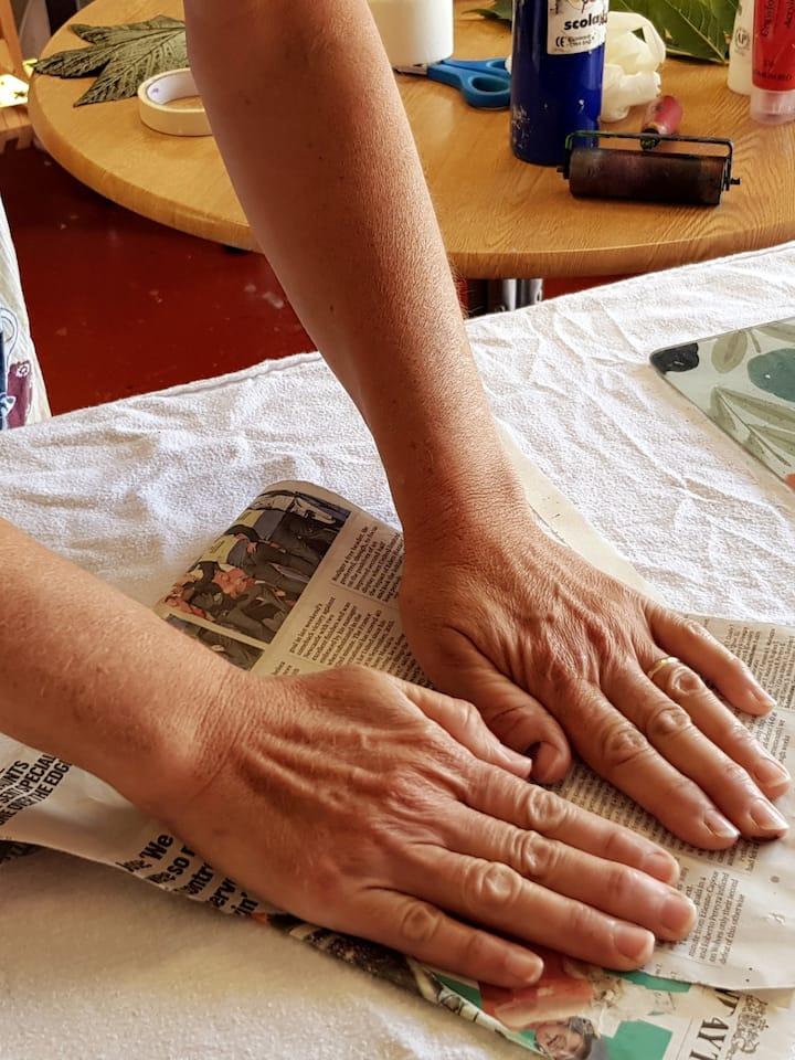 Hand printing design on textile
