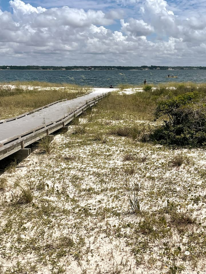 There are 3-4 areas to launch kayaks from.  All launches will be into the Santa Rosa Sound.  The open ocean is located just across the street from where training will be performed.  This photo has the longest walk to the launch area.