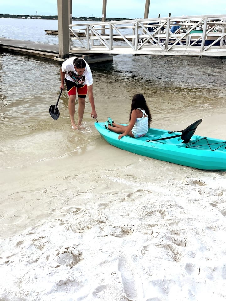 Small children are normally not allowed during training, however, for demonstration purposes, my granddaughter was involved.  Kayak is placed near water and then pulled in gently.