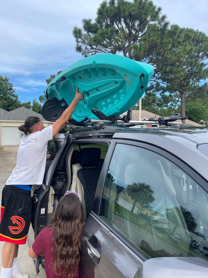 Loading kayak onto roof rack can take one or two people depending if you are tall with long arms or vertically challenged :-)