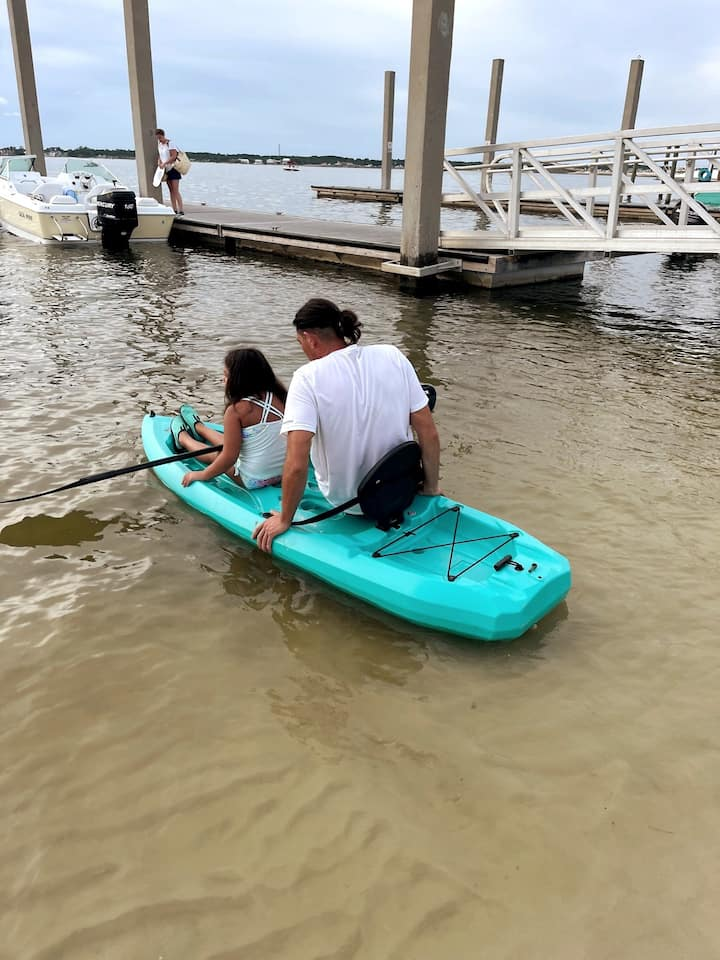 Once kayak can float, we will work on gliding into the kayak and seat.
