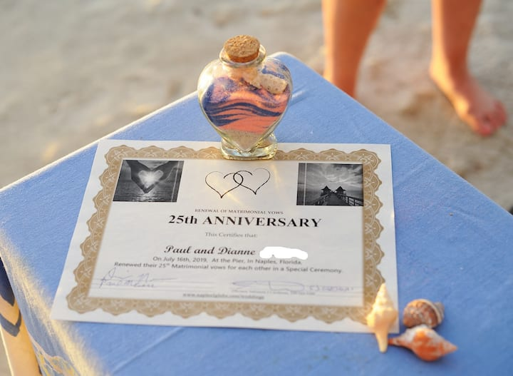 Take home your Sand Memento, Certificate