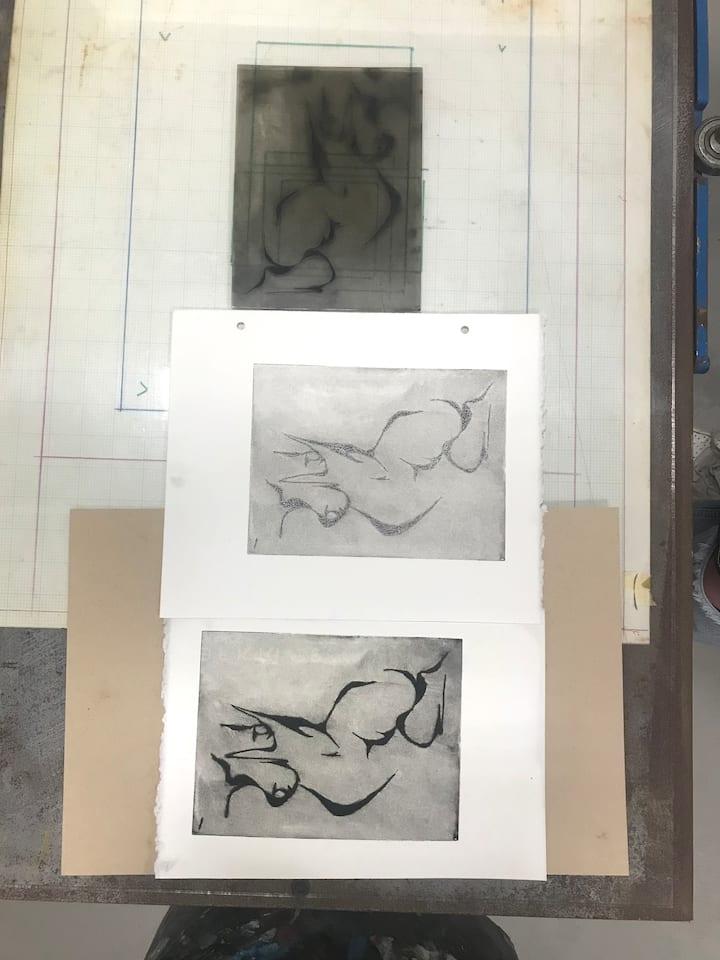 Drypoint print variations