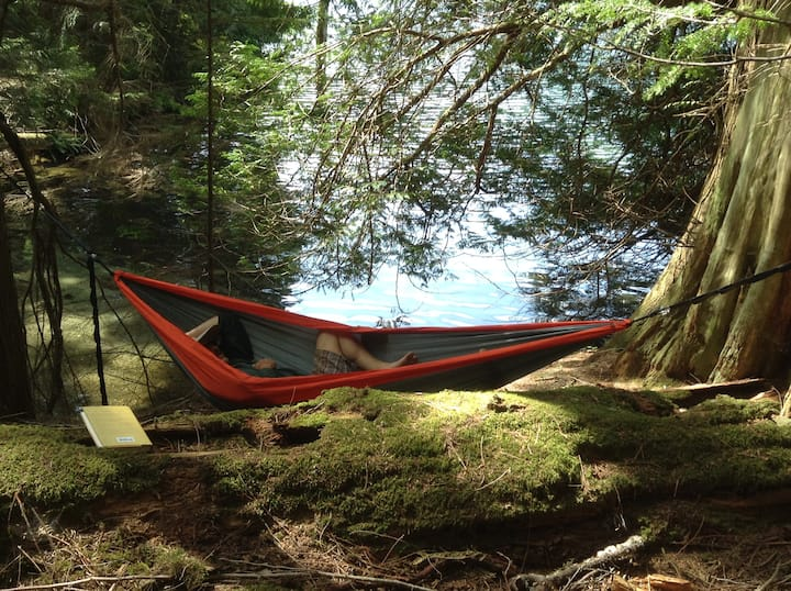 Hammock  by a pristine mountain lake