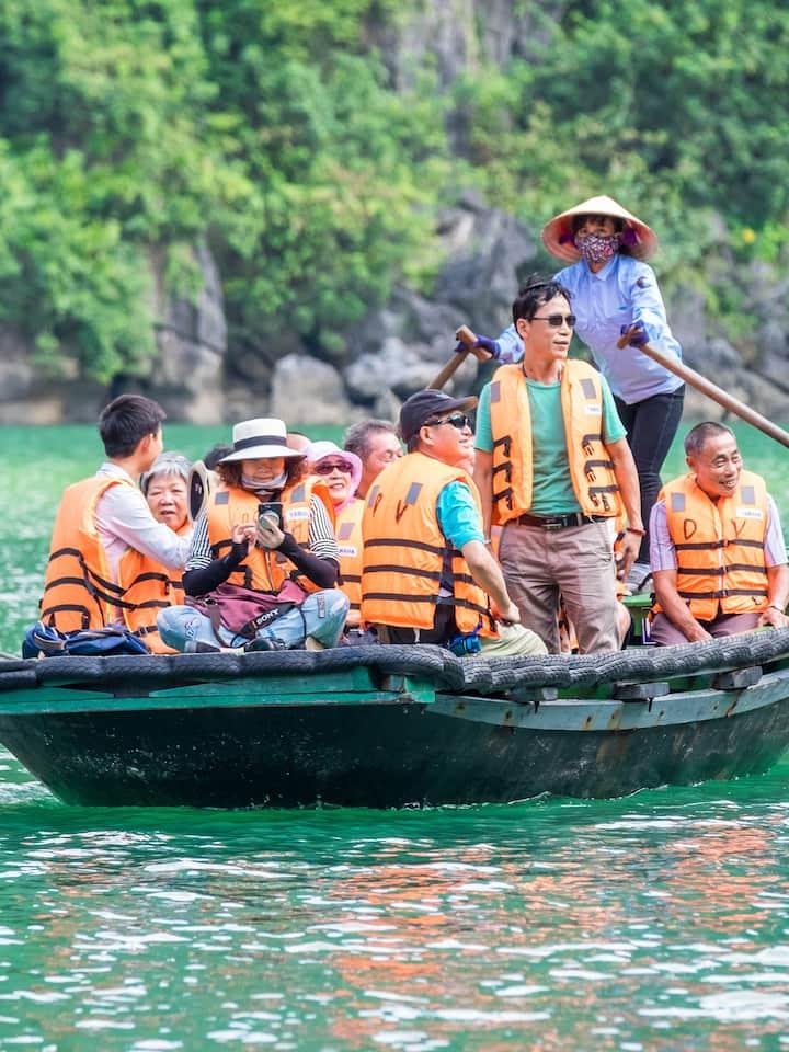 Bamboo Boat in Halong Bay