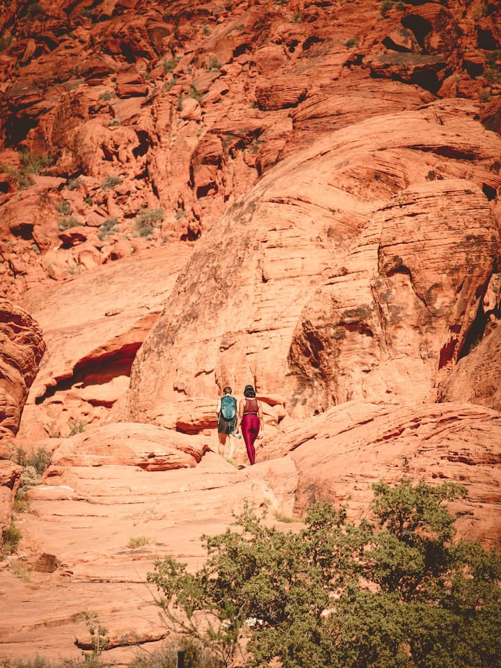 Hiking in red rock to our meditation