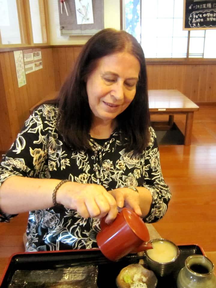 Practicing Japanese soba-eating etiquette