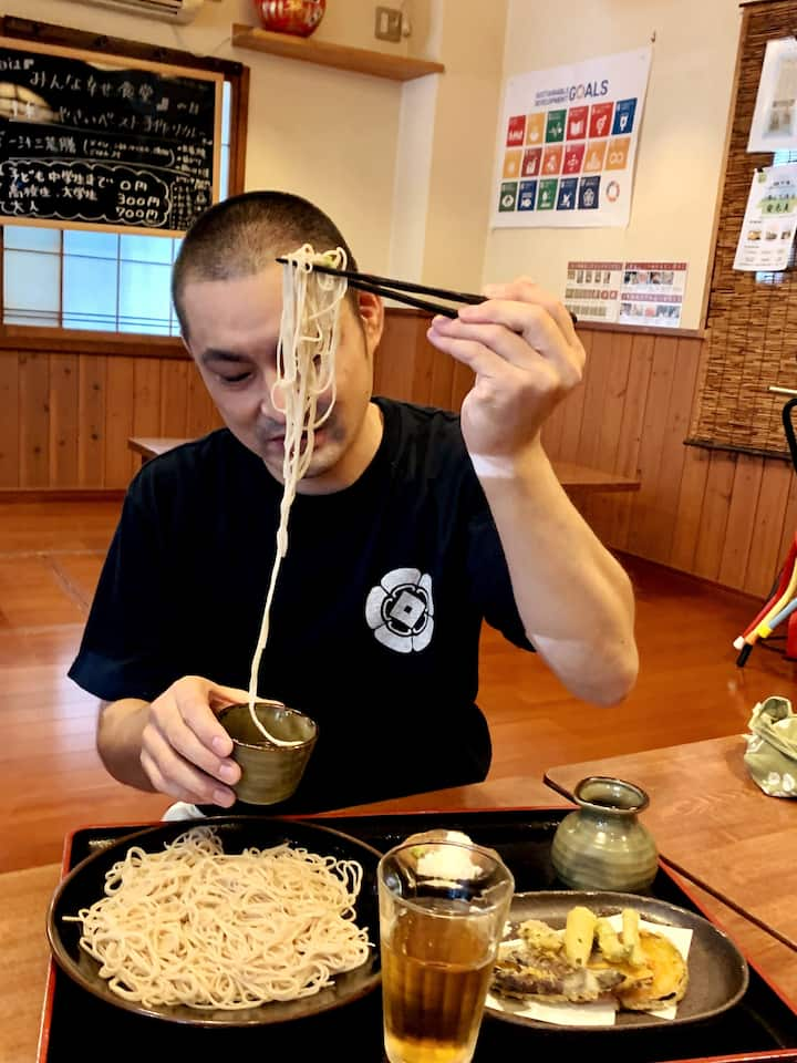 Holding the noodles and slurping Japanese style is not easy, but Chef Takeuchi will teach you with humor and patience.