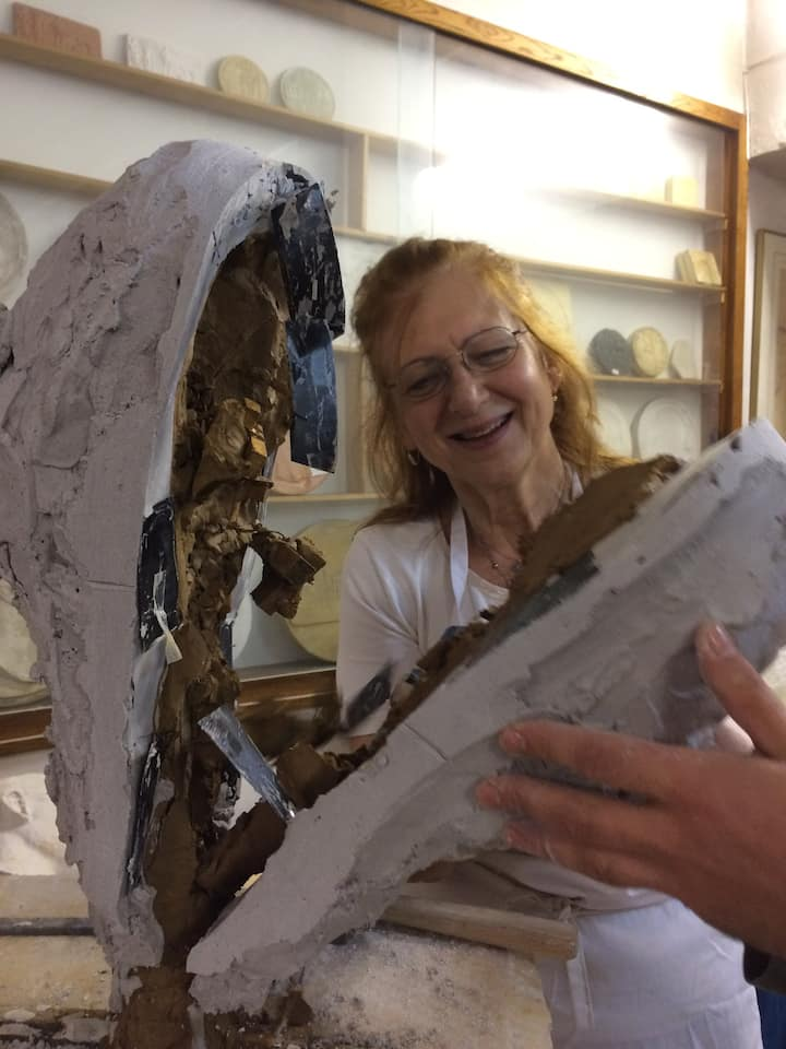 Opening my sculpture in laboratory