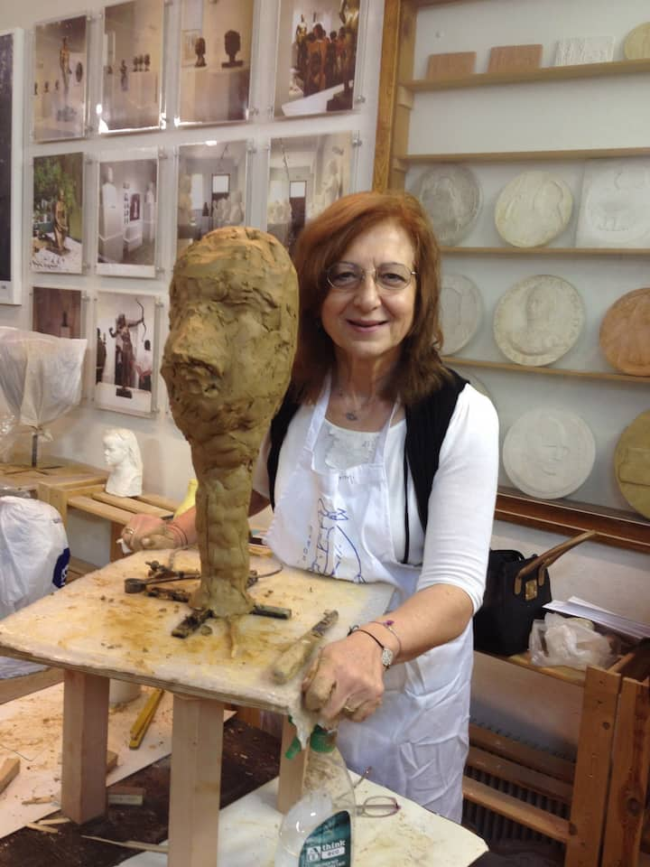 Working on my sculpture in laboratory