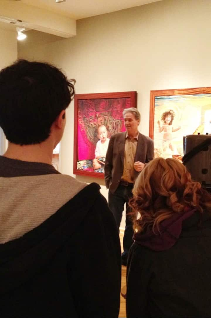 Artist leading gallery tour