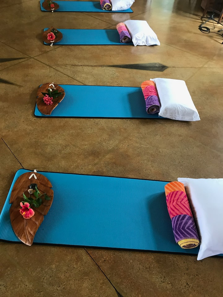 A Yoga Mat, towel & pillow for your use